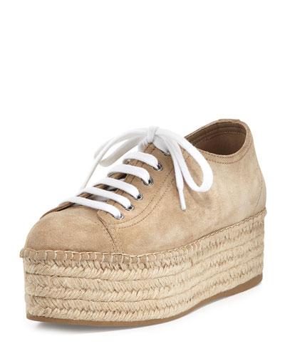 Suede Platform Espadrille Sneaker, Desert