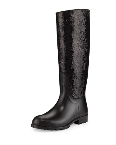 Sequined Rubber Rain Boot, Noir