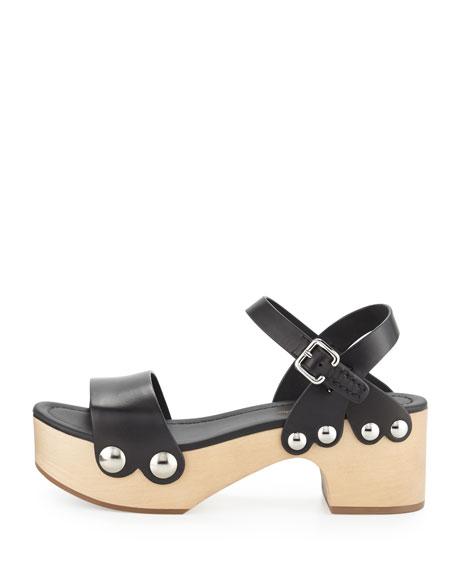 Chunky Leather Clog Sandal, Black/Natural (Nero/Naturale)