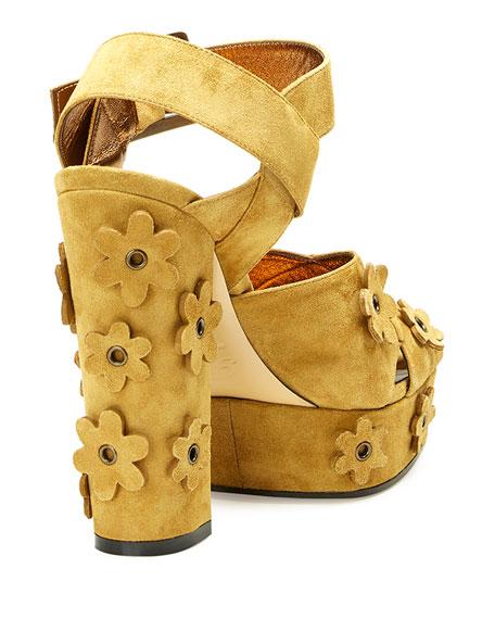 Floral-Appliqué Suede Platform Sandal, Khaki