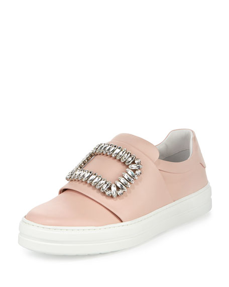 Roger Vivier Leather Strass Buckle Sneaker, Pink