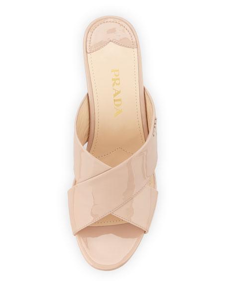 c53a22426a5 Prada Patent Crisscross Wedge Slide Sandal
