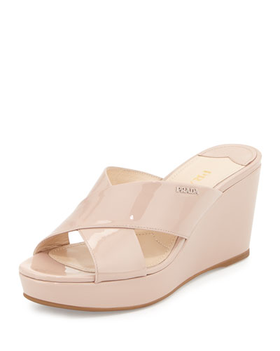 Patent Crisscross Wedge Slide Sandal, Cipria