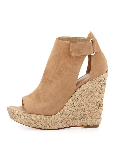 Openhouse Suede Wedge Sandal, Cashew