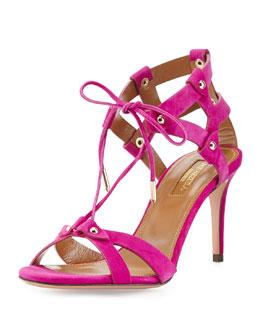 Bel Air Suede Cage-Heel Sandal, Orchid