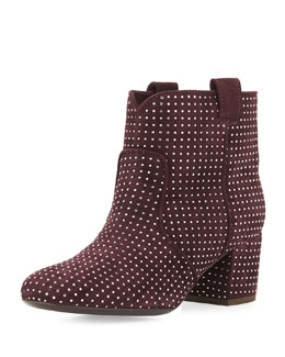 Belen Studded Suede Ankle Boot, Wine