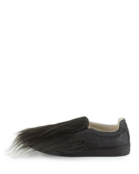 Faux-Fur Glitter Skate Sneaker, Black