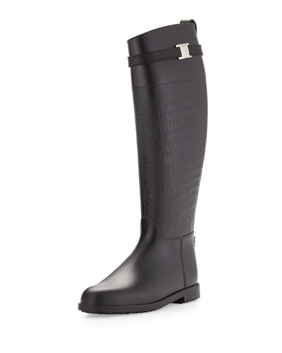 Miranda Croc-Embossed Rain Boot, Black