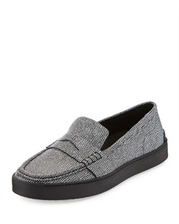 Colby Leather Sneaker Loafer, Black/White