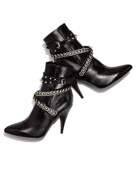 6d3bebc1645 Chain-Wrapped Tumbled Leather Boot Black