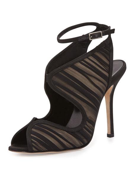 Suzy Ruched Keyhole Sandal, Black