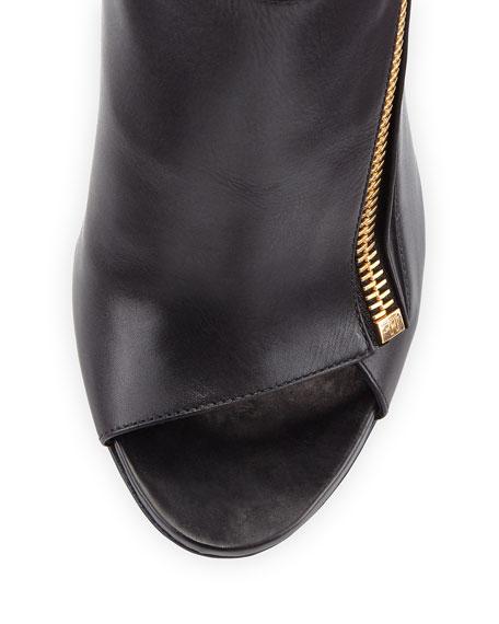 Calf Leather Side-Zip Bootie, Black