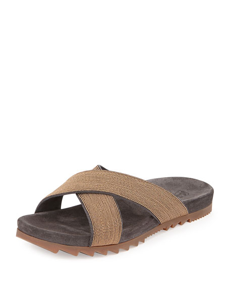 Brunello Cucinelli Monili Leather Flat Slide, Gold