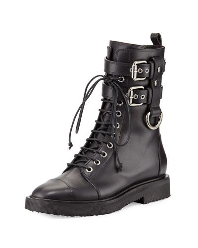 Hilary Lace-Up Combat Boot, Black (Nero)