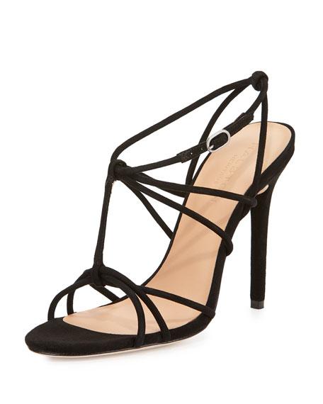 Anita Suede Strappy Sandal, Black