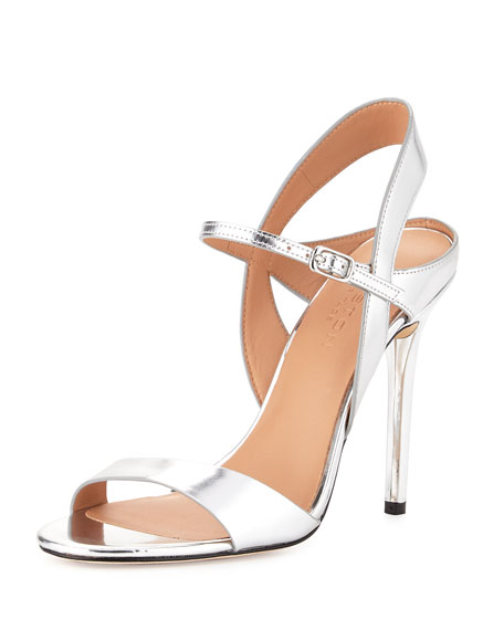 Ainsley Mirrored-Leather Sandal, Mirror Silver