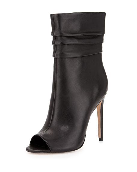 Sandra Peep-Toe Slouchy Leather Boot, Black