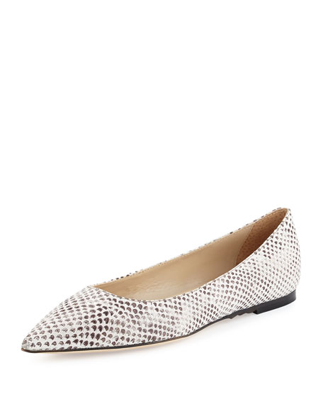 Valerie Snake-Embossed Pointed-Toe Flat, Gray Patent