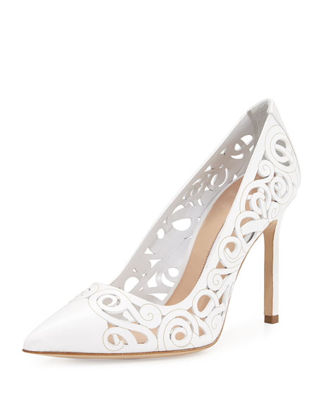deals Manolo Blahnik Laser-Cut Leather Mules shop for online sale lowest price clearance 100% guaranteed cheap sale with credit card ffqLAHEQbD