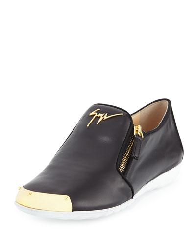 Leather Logo Smoking Shoe, Nero Paco