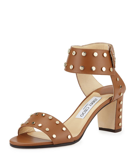 Jimmy Choo Veto Studded Leather 65mm Sandal, Canyon/Gold