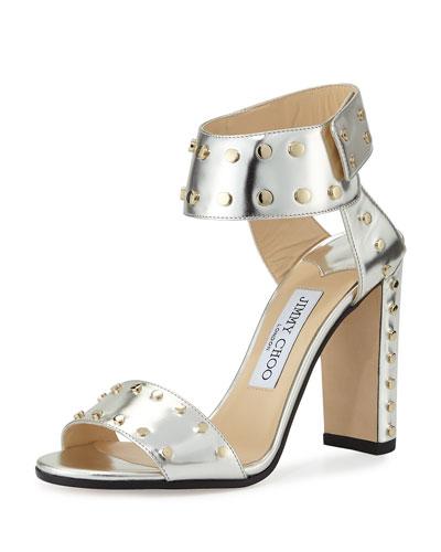 Veto Studded Leather 100mm Sandal, Silver/Gold