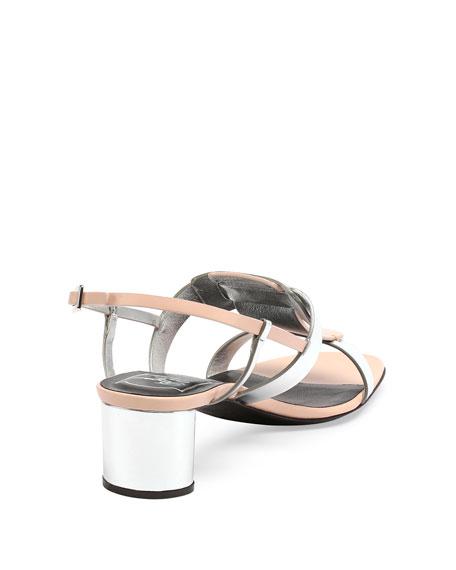 Pilgrim Jour Metallic City Sandal, Rosa Salmone
