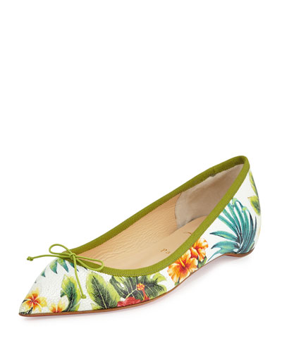 Solasofia Hawaii Pointed-Toe Red Sole Flat, White Floral
