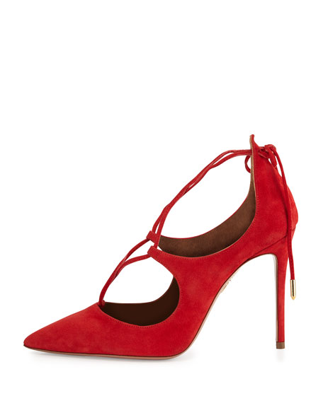 Christy Suede Lace-Up Pump, Lipstick
