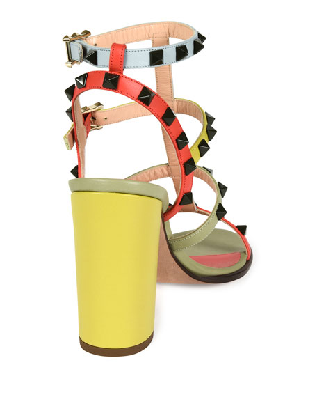 Lacquered Rockstud Chunky-Heel Sandal, Coral/Army Avocado
