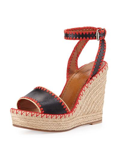 Whipstitch Ankle-Wrap Espadrille Sandal, Nero/Coral/Avocado