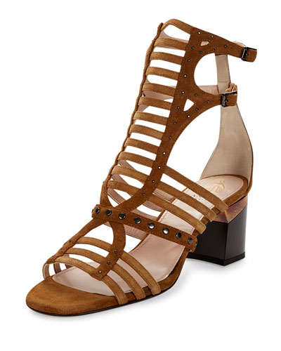 Studded Gladiator City Sandal, Camel