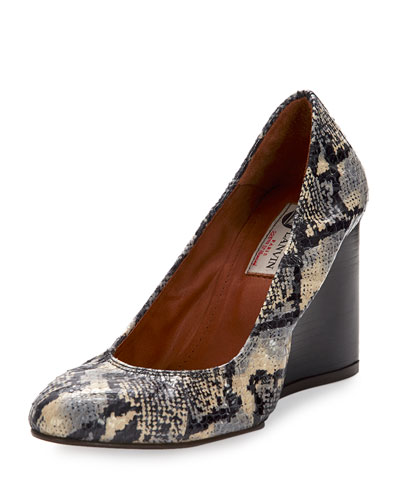 Watersnake? Ballerina Wedge Pump, Black/White