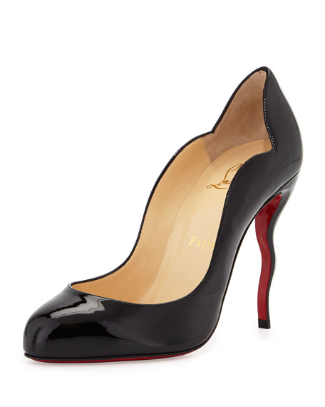 Christian Louboutin Wawy Dolly Patent Squiggly-Heel Red Sole