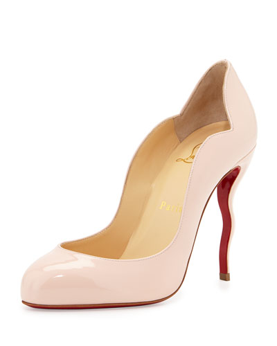 Wawy Dolly Patent Squiggly-Heel Red Sole Pump, Light Pink