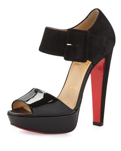 Haute Rettenue 140mm Red Sole Sandal, Black