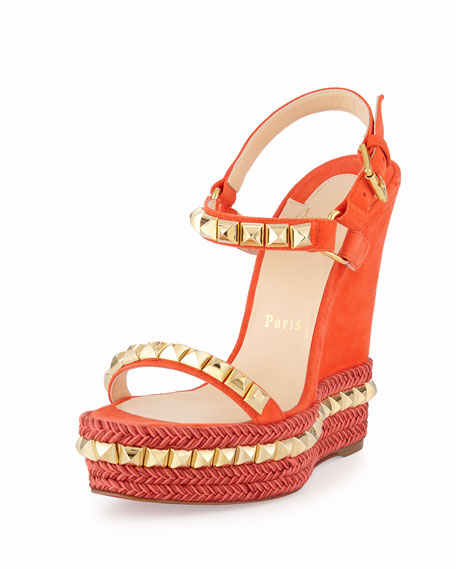 125c2336ccea Christian Louboutin Cataclou Studded Suede Red Sole Wedge Sandal ...