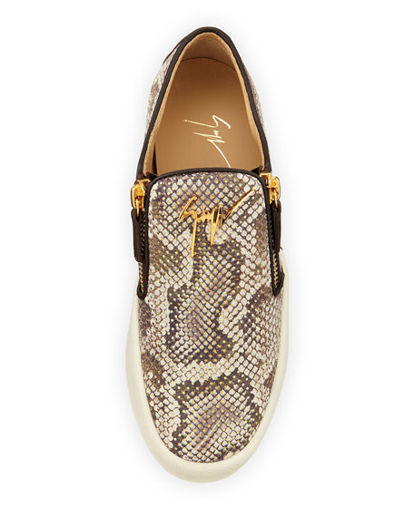 Python-Embossed Slip-On Sneaker, Naturale/Oro