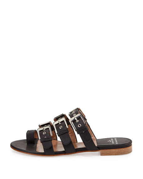 Kim Rivet Leather Slide Sandal, Black