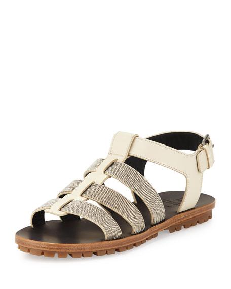 Brunello Cucinelli Monili Gladiator Flat Sandal, Oat