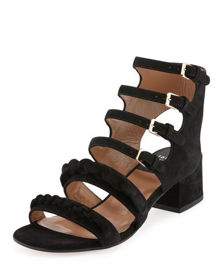 Laurence Dacade Kemo Suede Chain Strappy Sandal, Black