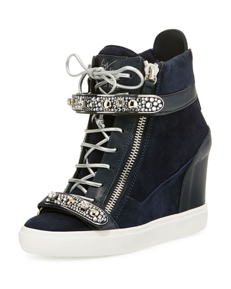 e29ab921353 Tiana Crystal High-Top Wedge Sneaker Navy
