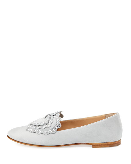 Crystal-Embellished Suede Loafer, Light Gray