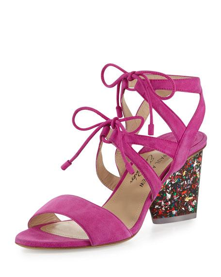 Rhoda Suede Glitter-Heel Sandal, Pink
