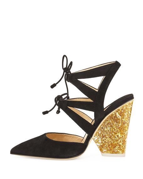 Ronja Suede Lace-Up Glitter-Heel Pump, Black