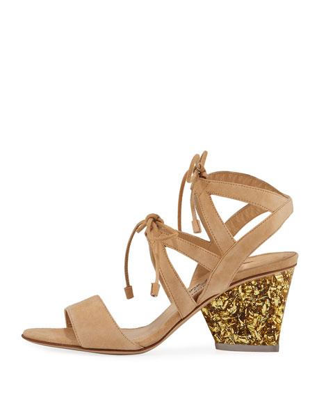 Rhoda Suede Glitter-Heel Sandals, Nude