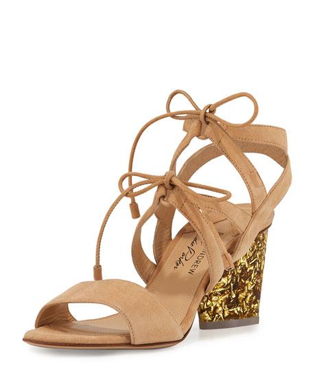 Rhoda Suede Glitter-Heel Sandal, Nude