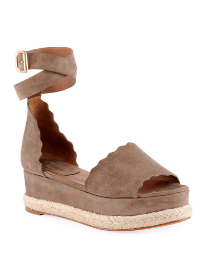Scalloped Platform Espadrille Sandal, Reef Shell