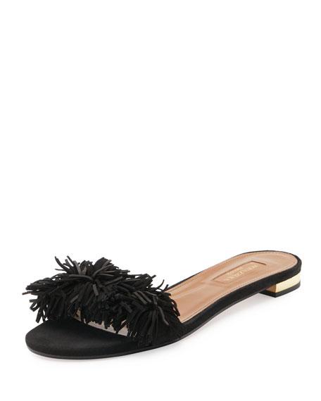 a33082580 Aquazzura Wild Thing Suede Flat Slide Sandal