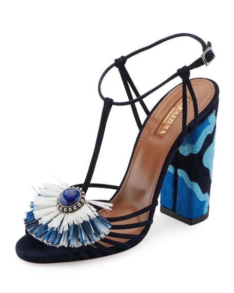 Aquazzura Samba Raffia T-Strap 105mm Sandal, Blue